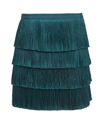 Raine Fringe Mini Skirt, TEAL BLUE, hi-res