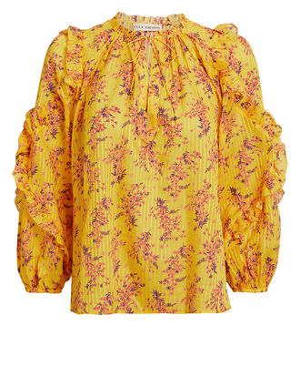 Manet Sulphur Blouse, YELLOW/FLORAL, hi-res