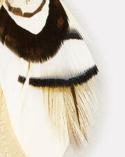 Feather Earrings, BROWN/WHITE, hi-res