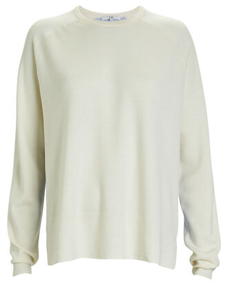 Mixed Merino Wool Crewneck Sweater, IVORY, hi-res