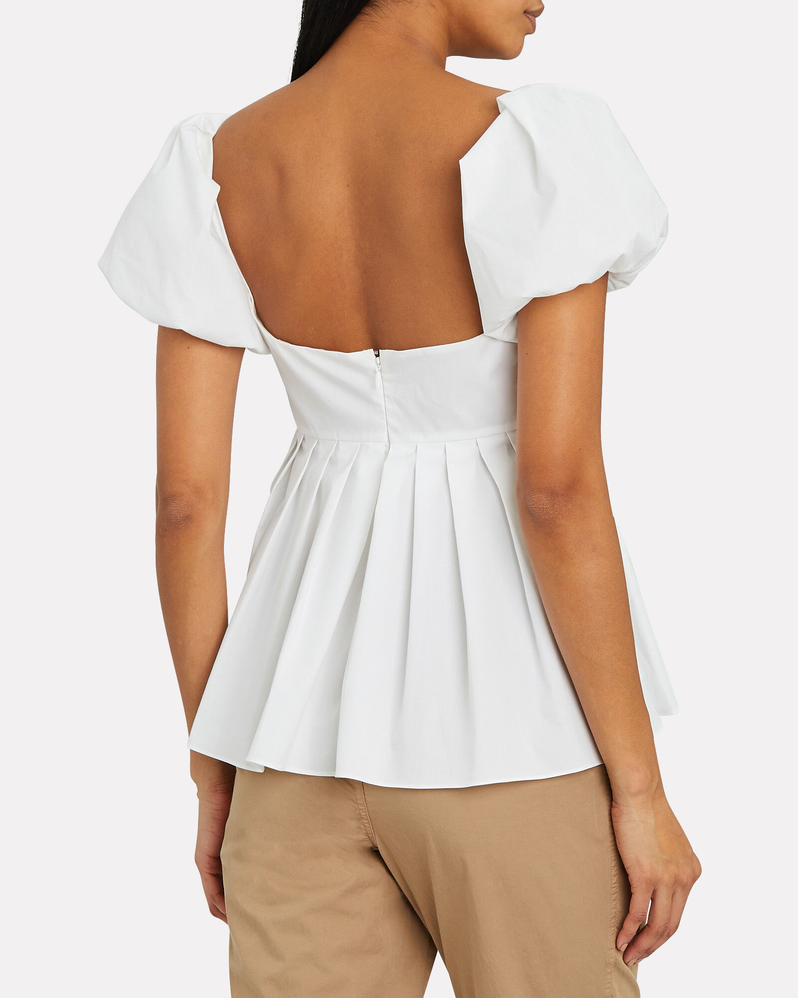 Cotton Poplin Peplum Blouse, WHITE, hi-res