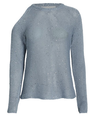 Cold Shoulder Sequin Sweater, POWDER BLUE, hi-res