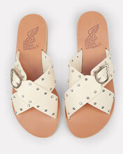 Pella Rivets Cross Buckle Sandals, WHITE/SILVER/TAN, hi-res