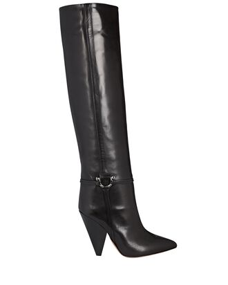 Lazu Leather Knee-High Boots, BLACK, hi-res