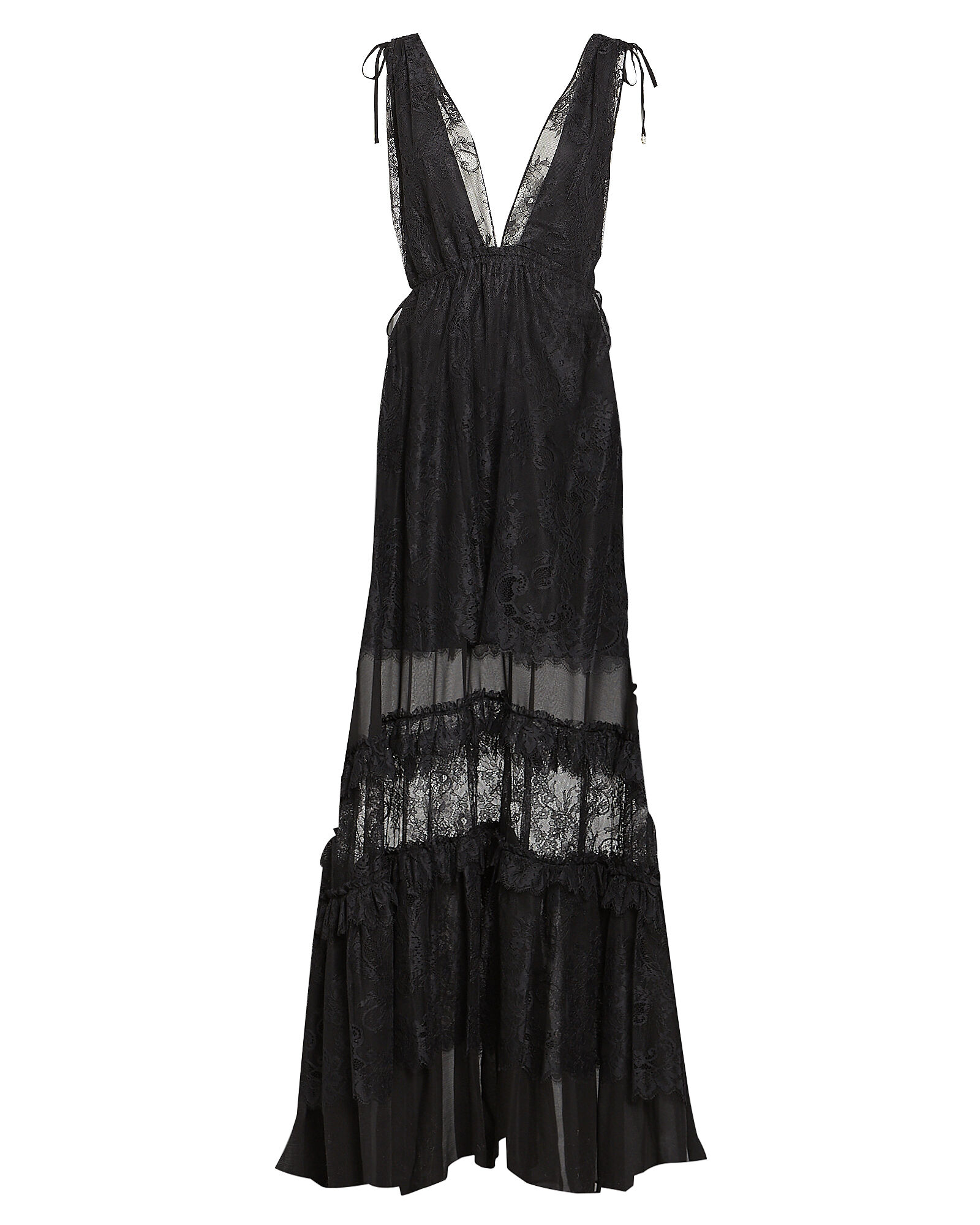 Umbra Tiered Lace Gown, BLACK, hi-res