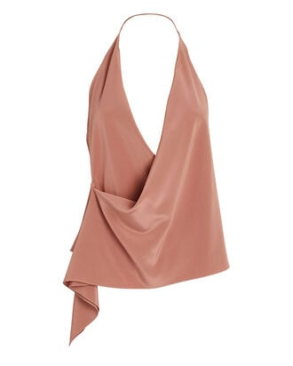 Draped Silk Halter Blouse, ROSE, hi-res