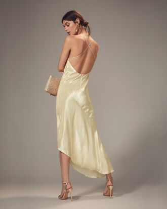 Goldie Champagne Asymmetrical Gown, CHAMPAGNE GOLD, hi-res