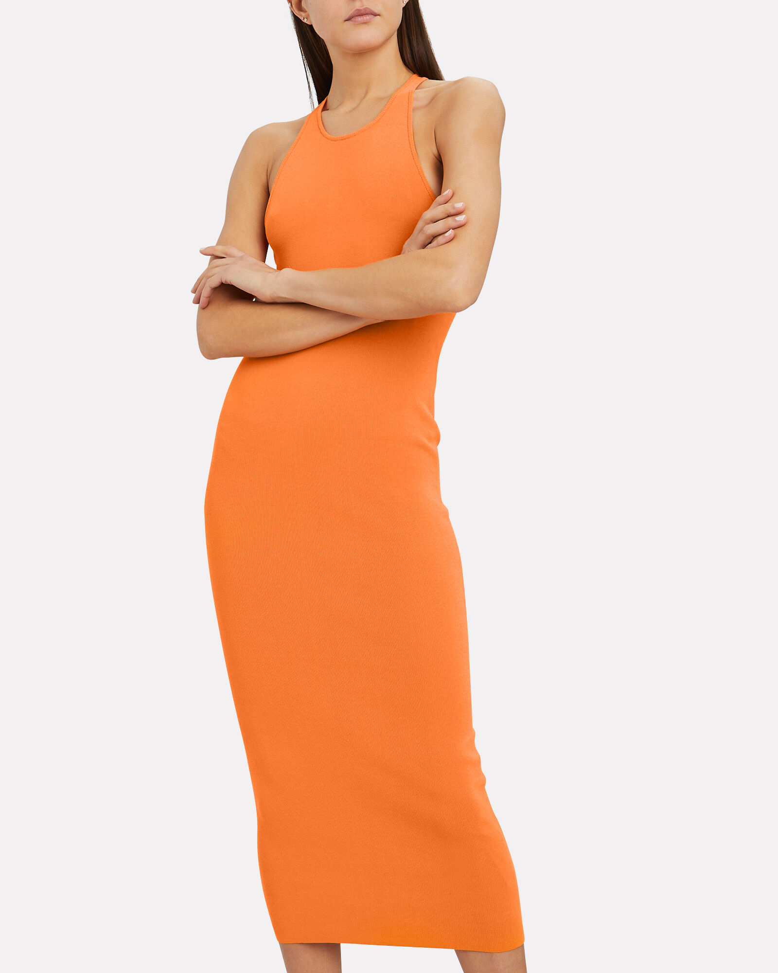Marc Rib Knit Sleeveless Dress, ORANGE, hi-res