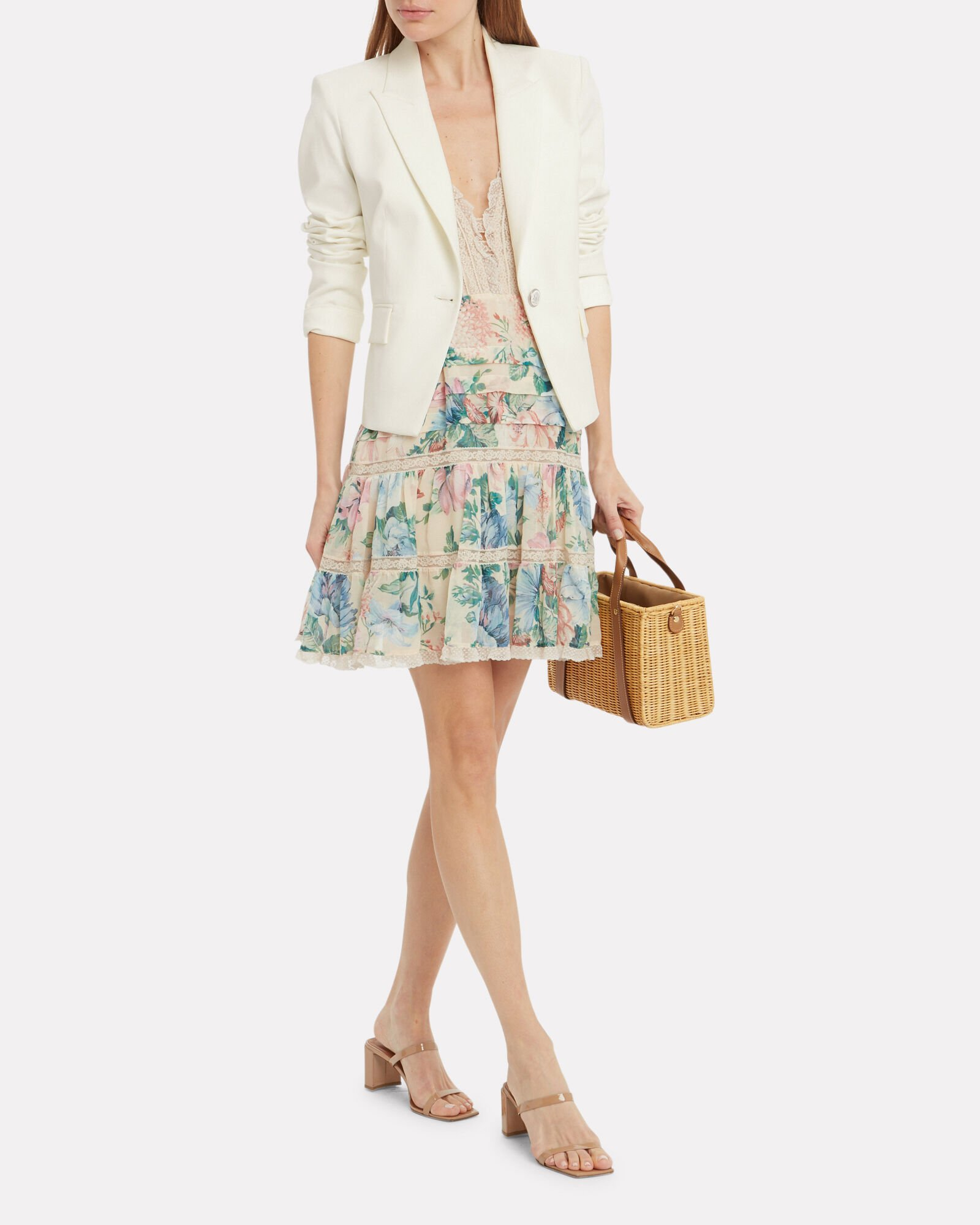Danielle Single Button Dickey Blazer, IVORY, hi-res
