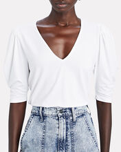 Shirred Puff Sleeve Top, WHITE, hi-res