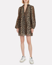 Pleated Georgette Leopard Dress, LEOPARD, hi-res