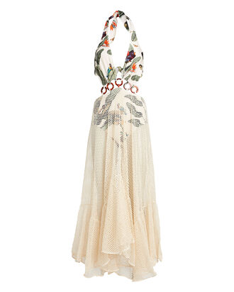Tropical Mesh Beach Maxi Dress, WHITE/GREEN, hi-res