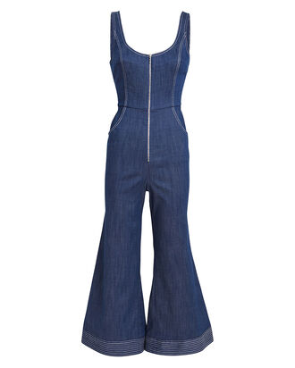 Bristol Chambray Flared Jumpsuit, INDIGO, hi-res