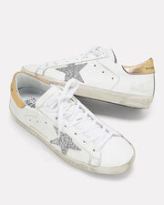 Superstar Silver Glitter Star Low-Top Sneakers, WHITE, hi-res