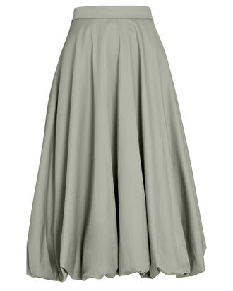 Eco Poplin Midi Bubble Skirt, PALE OLIVE, hi-res