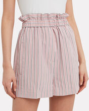 Striped Twill Shirred Shorts, PINK, hi-res
