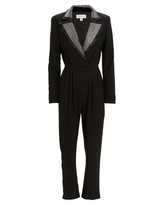 Sharon Studded Tuxedo Jumpsuit, BLACK, hi-res
