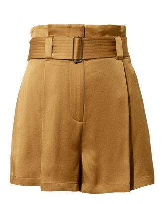 Deliah Belted Satin Shorts, BROWN, hi-res