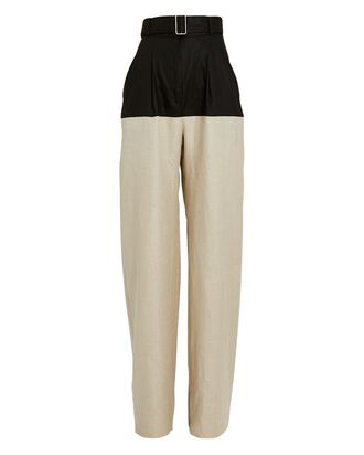 Colorblock Straight-Leg Linen Pants, BLACK/BEIGE, hi-res