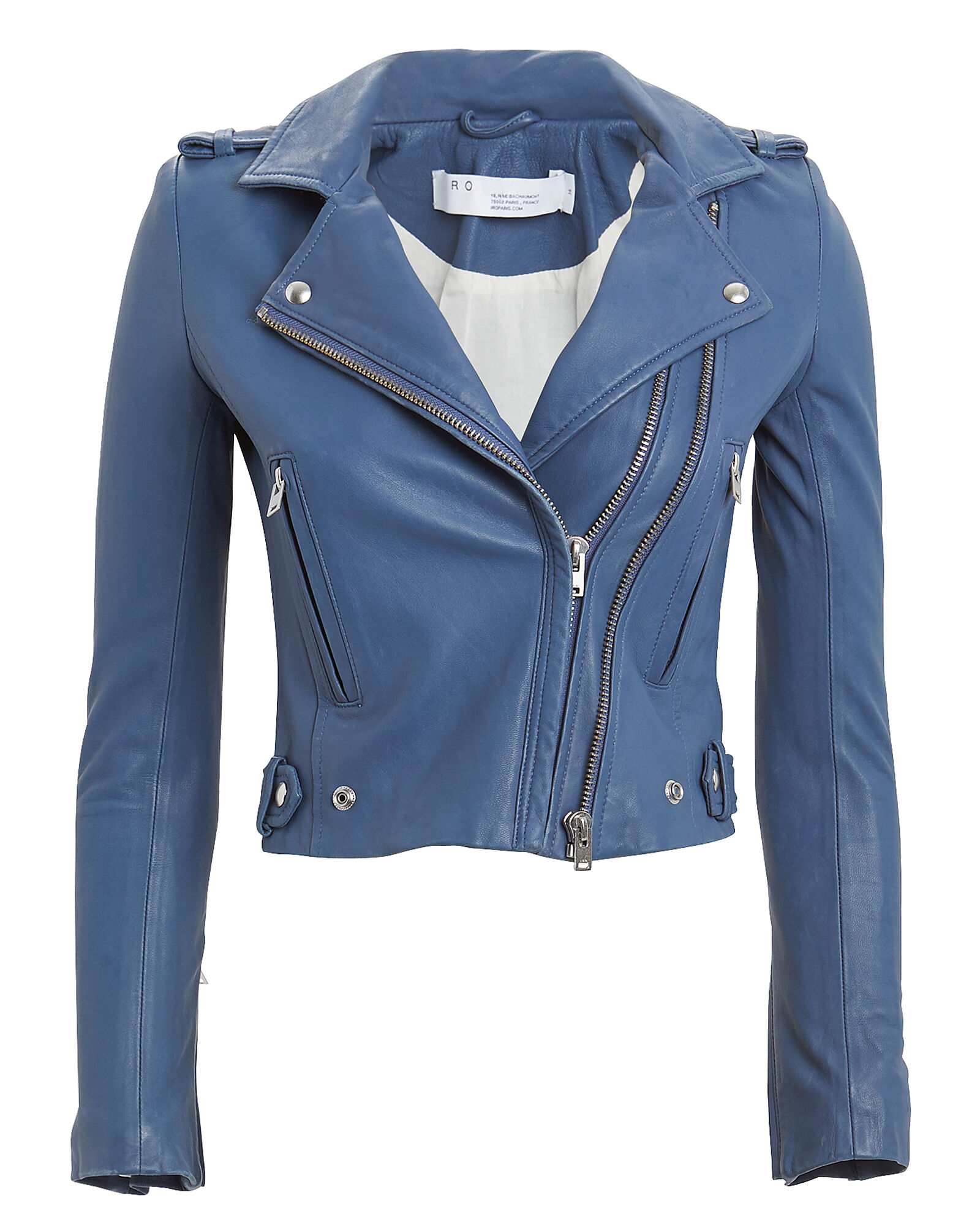 Dylan Leather Moto Jacket, BLUE, hi-res