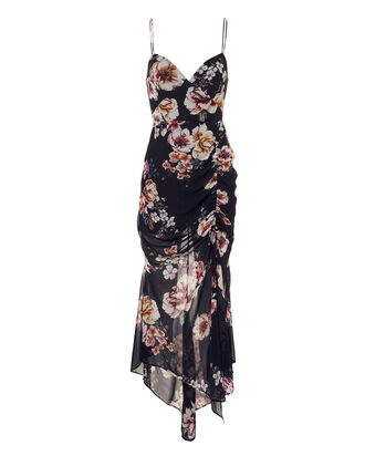 Floral Ruched Dress, NAVY, hi-res