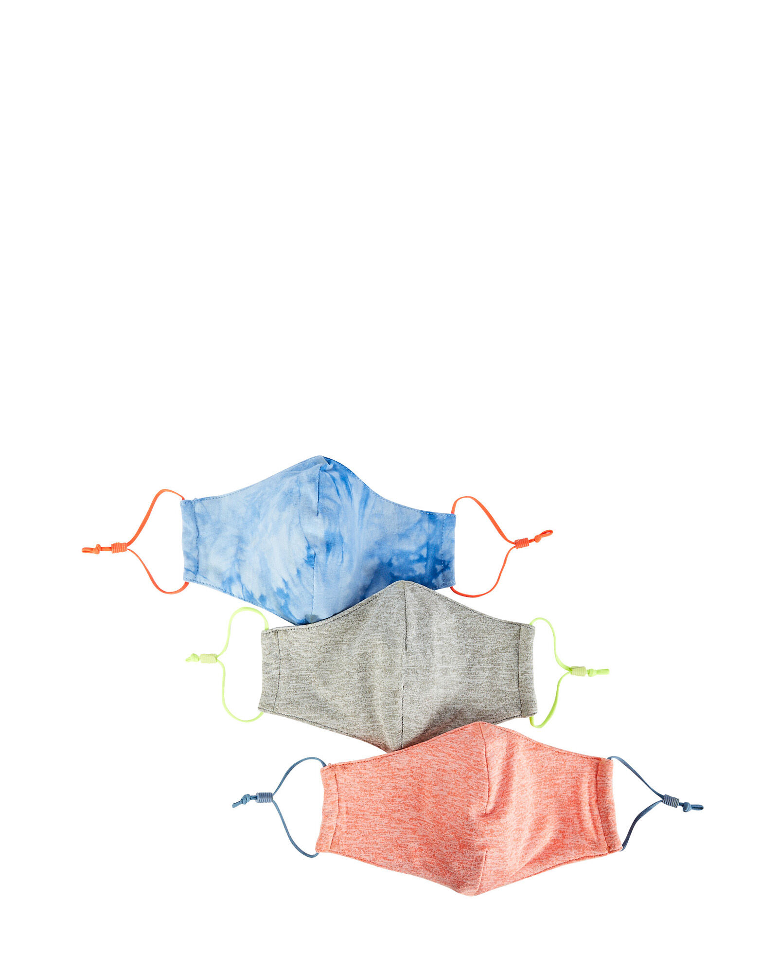 Cotton Face Mask 3-Pack, ORANGE/GREY/BLUE, hi-res