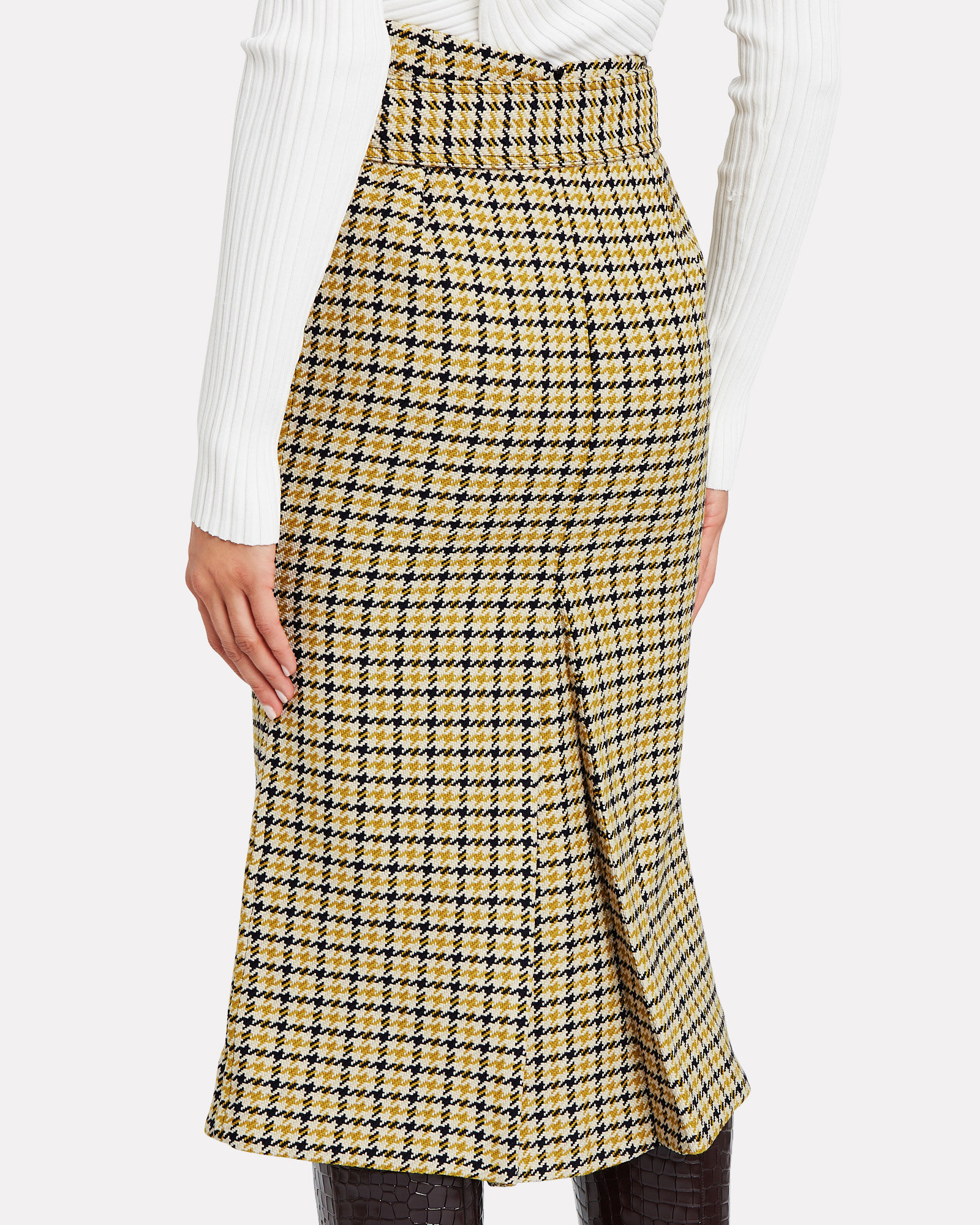 Checked Box Pleat Skirt, YELLOW, hi-res