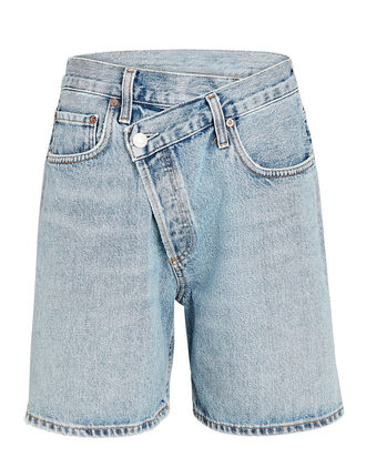 Criss Cross Upsized Denim Shorts, MOMENTUM, hi-res