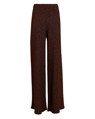 Daisy Lurex Knit Pants, BROWN, hi-res