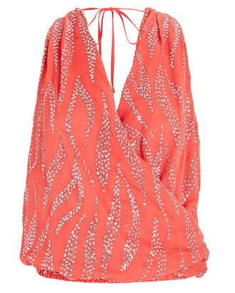 Embellished Crepe Sleeveless Top, ORANGE, hi-res