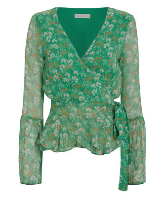 Jade Valentine Wrap Top, GREEN/FLORAL, hi-res