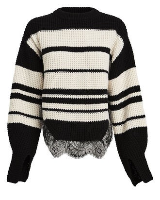 Striped Lace-Trimmed Sweater, BLK/WHT, hi-res