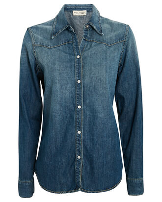 Claire Denim Button-Down Shirt, MEDIUM WASH DENIM, hi-res