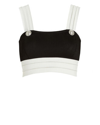 Colorblock Knit Crop Top, BLACK/WHITE, hi-res
