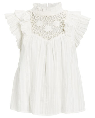 Ona Flounce Flutter Sleeve Top, WHITE, hi-res