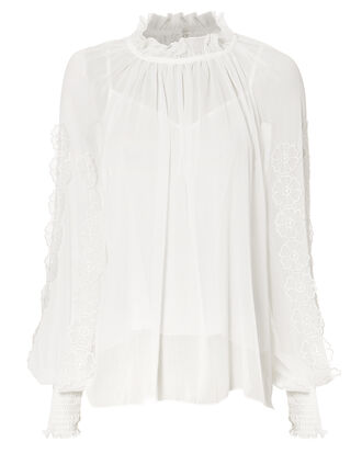 Floral Applique Sheer Blouse, WHITE, hi-res