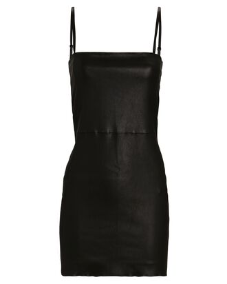 Tube Line Leather Dress, BLACK, hi-res