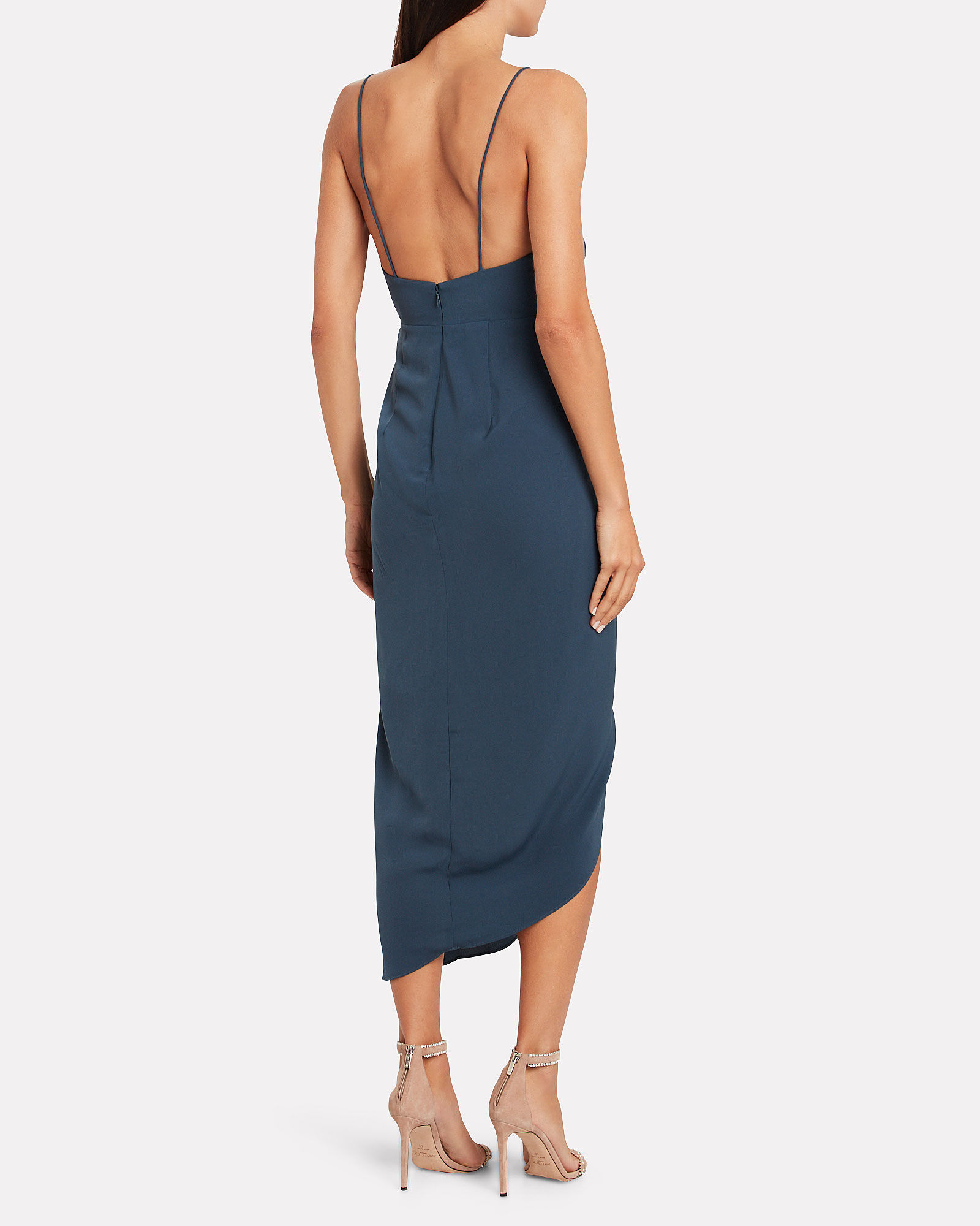 Thea Draped Crepe Dress, BLUE-MED, hi-res