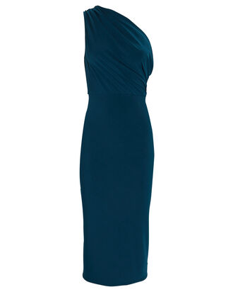 Kong Draped One-Shoulder Dress, NAVY, hi-res