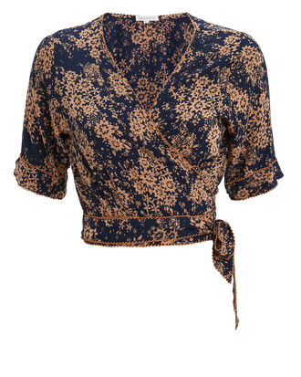 Heidi Wrap Crop Top, NAVY/PEACH FLORAL, hi-res