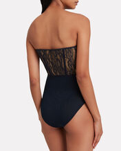 Mixed Lace Bustier Bodysuit, NAVY, hi-res