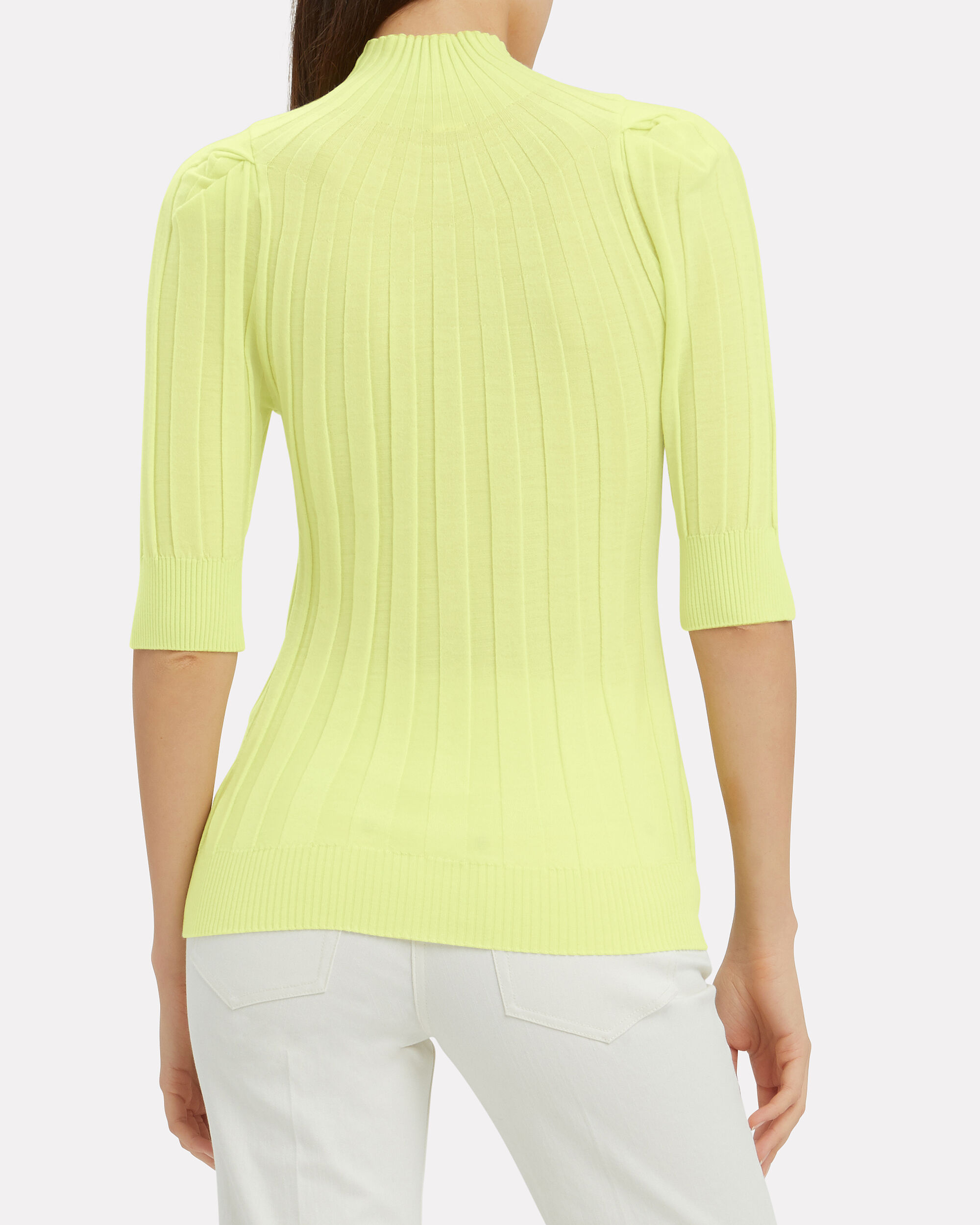Ribbed Puff Sleeve Sweater, GREEN-LT, hi-res