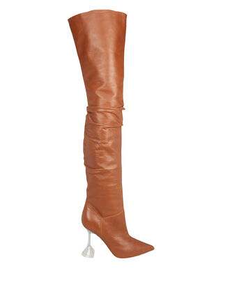 Olivia Glass Heel Tall Leather Boots, BROWN, hi-res