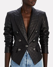 Cooke Quilted Leather Dickey Blazer, BLACK, hi-res