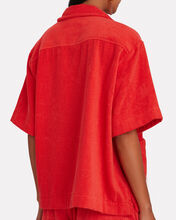 Boxy Terry Cloth Button-Down Shirt, RED, hi-res
