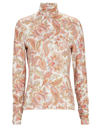Ladybeetle Floral Paisley Turtleneck Top, MULTI, hi-res