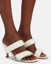 Puffer Leather Sandals, WHITE, hi-res