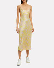 Satin Floral Cocktail Dress, CHAMPAGNE/YELLOW FLORAL, hi-res