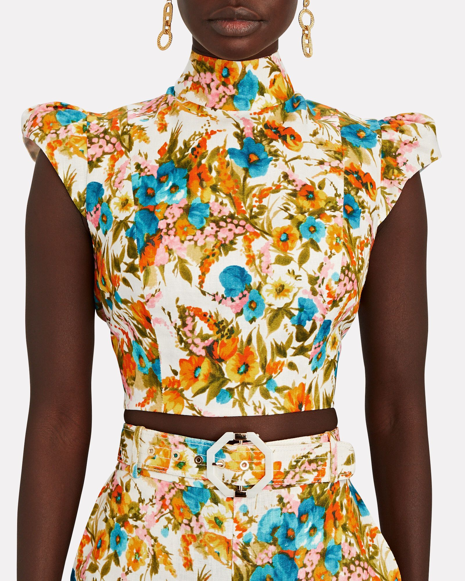 Estelle Floral Halter Crop Top, MULTI, hi-res