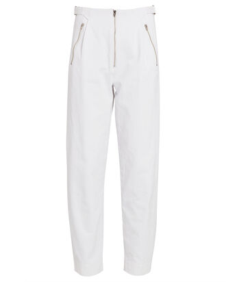 Gilles Straight-Leg Cotton Pants, WHITE, hi-res